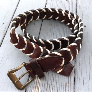 Anthro genuine leather woven paneled braided beltM